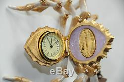 $595! JAY STRONGWATER CANARY DIAMOND JEWELED SPIDER CLOCK MARTINA LTD 350 Gold