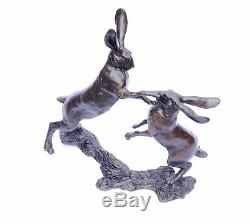 Boxing Hare Hares Solid Bronze Sculpture Limited Edition by Michael Simpson 830