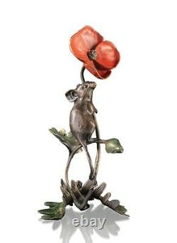 Bronze Sculpture Mouse With Poppy Limited Edition 175. Michael Simpson