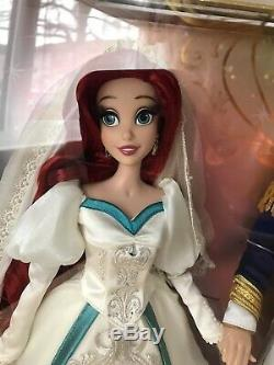 Disney Store Limited Edition Doll Ariel & And Eric Platinum Wedding Set BNIB