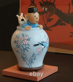 Extremely Rare! Tintin with Snowy in Flowerpot Limited Edition Figurine Statue