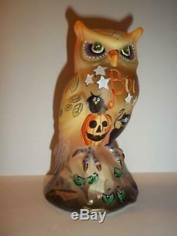 Fenton Glass Boo Halloween Owl Figurine w Black Cat Pumpkin LE #5/21 K Barley