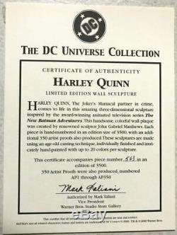 HARLEY QUINN WALL SCULPTURE Ltd Ed #563/3500 Warner Bros COA DC Universe Batman