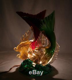 Italian Murano Seguso Vetri d'Arte Ruby & Green Glass Double Fish Figure Lamp