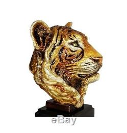 Jay Strongwater Jungle Grand Tiger Head On Marble Swarovski New Made In USA Ltd