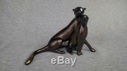 Loet Vanderveen Cheetah and Cub Limited Edition Bronze Sculpture