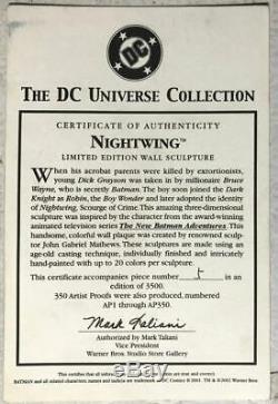 NIGHTWING WALL SCULPTURE Ltd Ed #5/3500 Warner Bros COA DC Universe Batman