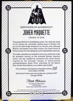 New BATMAN Adventures Ltd Ed JOKER MAQUETTE Statue #1976/2500 Warner Bros COA
