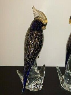 Venetian Murano Signed Sandro Frattini Cockatoos Cockatiels Birds Art Glass